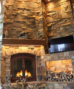 front facing wood burning fireplace