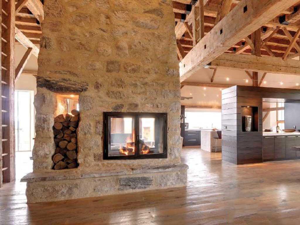see through wood burning fireplace