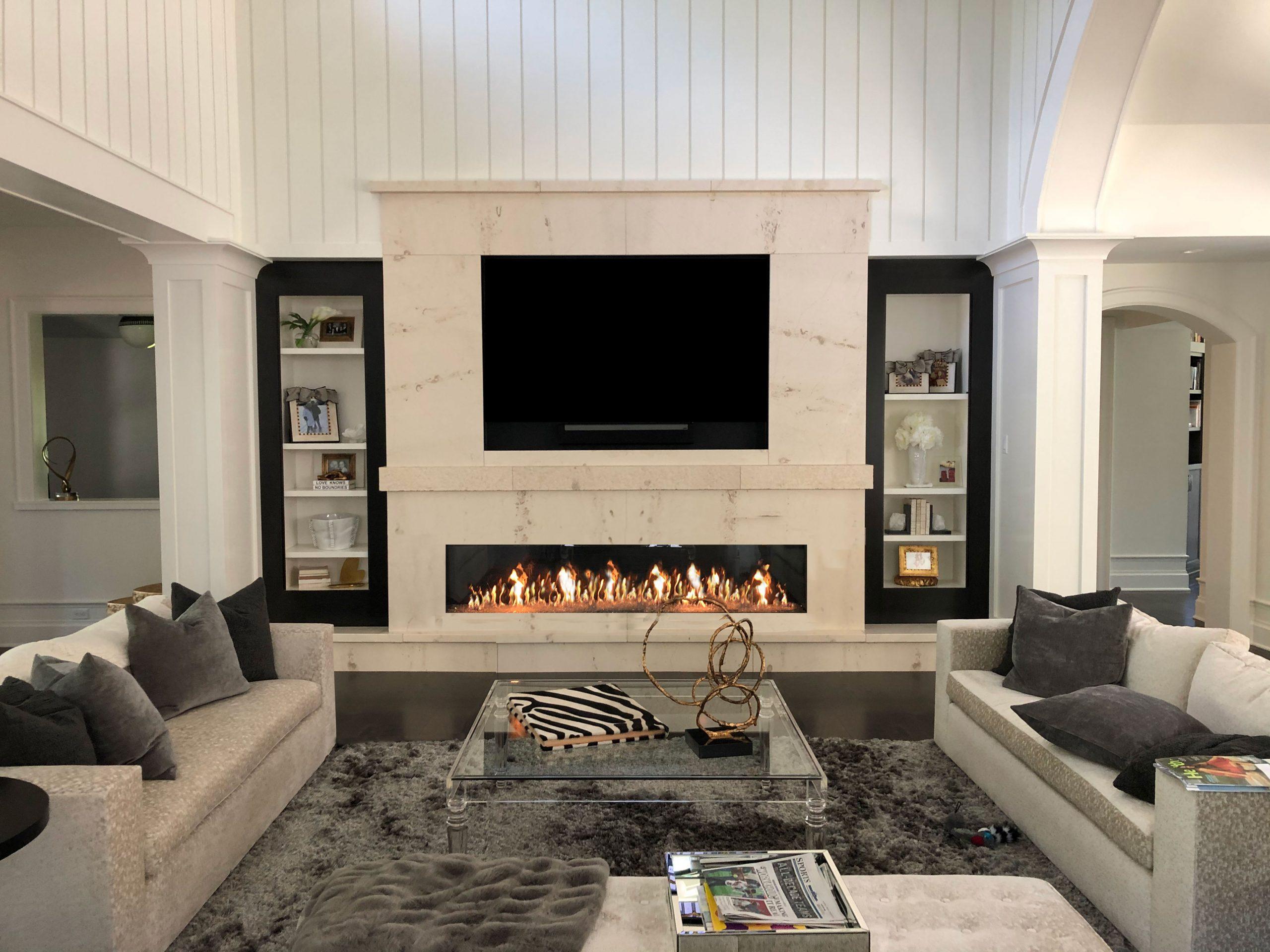 modern frameless linear gas fireplace
