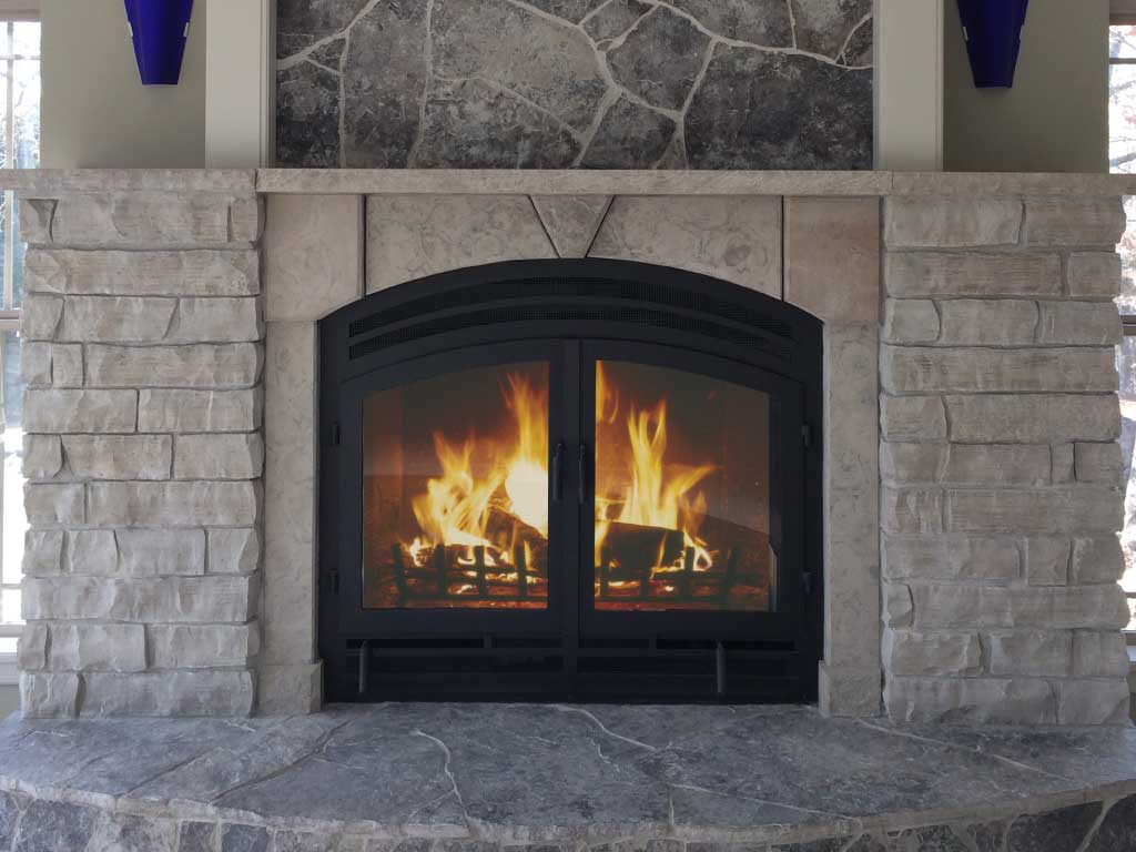 front facing wood fireplace