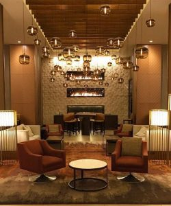 stacked linear gas fireplaces in hotel lobby denver colorado