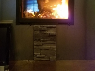 single sided wood burning fireplace with single door and modern finish