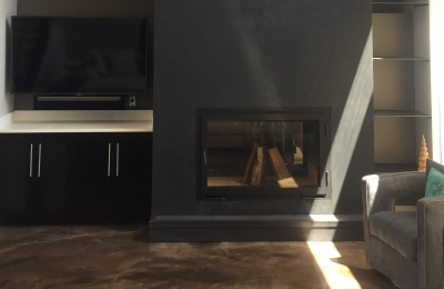 modern see through wood burning fireplace with single door