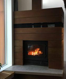 single sided modern wood fireplace