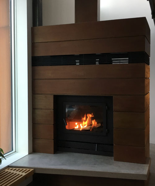 single sided modern wood fireplace