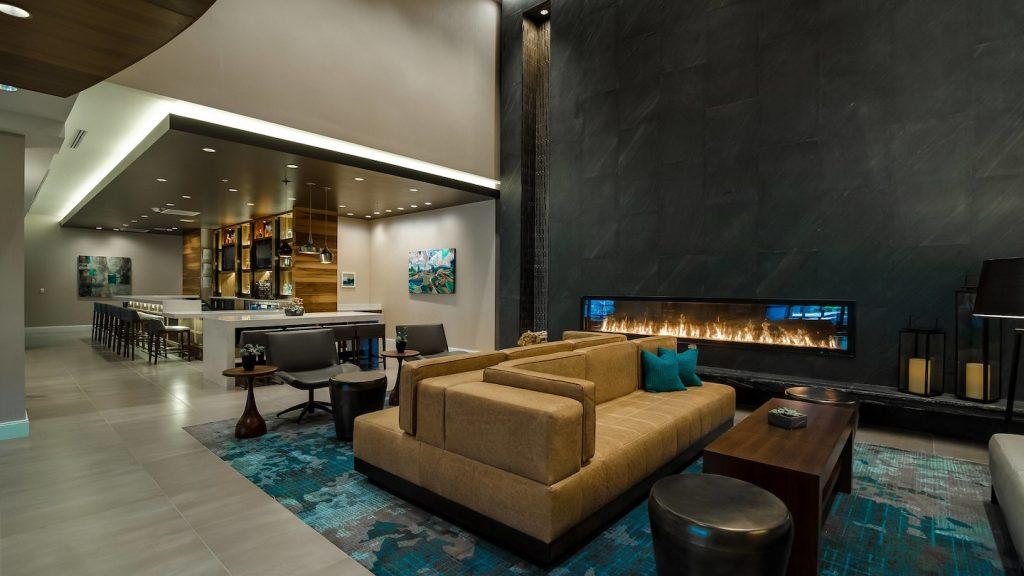 linear gas fireplace in hotel lobby
