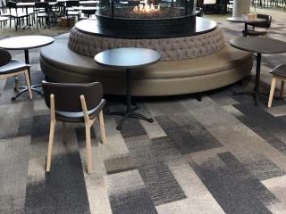 circular gas fireplace with firescreen