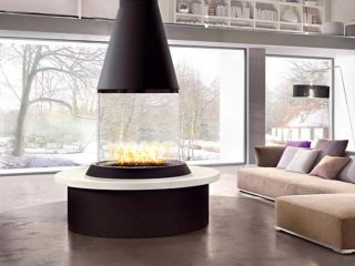 circular gas fireplace