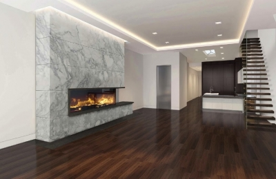 linear front and right gas fireplace in modern living room
