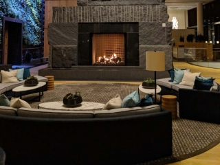 see through gas fireplace with logs