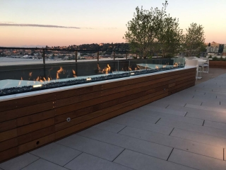 10 foot linear outdoor fire pit with glass