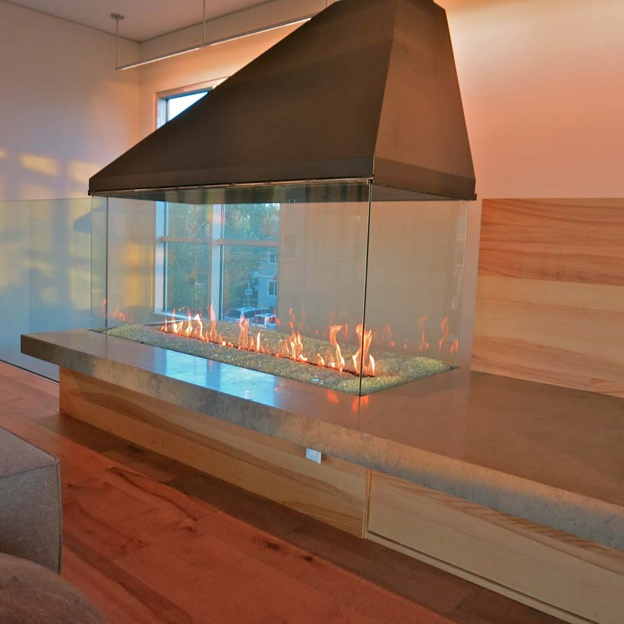 four sided glass fireplace