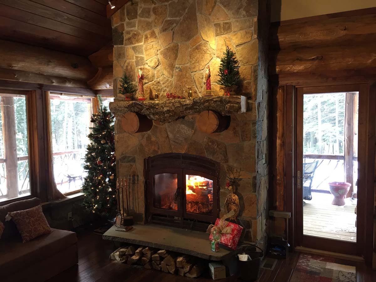 Image of: Indoor Outdoor Wood Fireplace Design Idea Gallery Acucraft