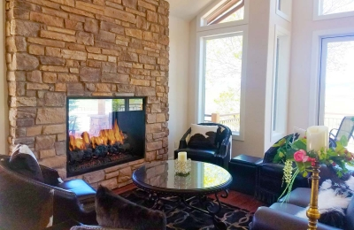 indoor outdoor see through gas fireplace