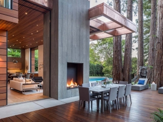 open outdoor gas fireplace with logs