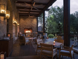 custom open gas outdoor fireplace with logs