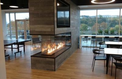 3 sided peninsula gas fireplace