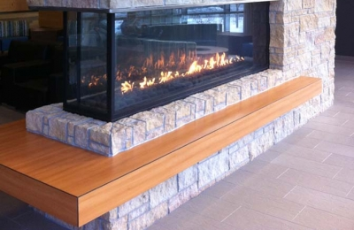 peninsula gas three sided fireplace