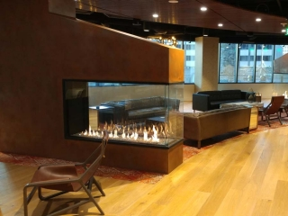 3 sided peninsula gas fireplace