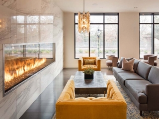 linear see through gas fireplace