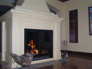 large see through wood burning fireplace in a private residence