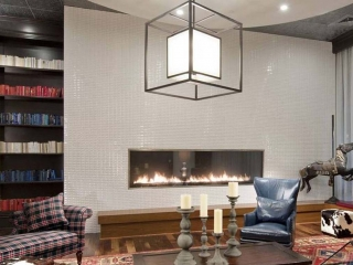 10 foot linear single sided gas fireplace in apartment complex lounge