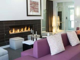 6 foot linear gas fireplace in office lobby
