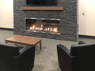 single sided linear gas fireplace