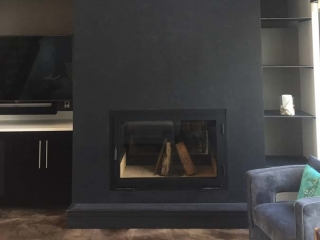 see through double sided wood burning fireplace in living room
