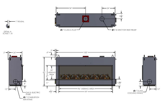acucraft blaze 8 linear gas fireplace drawing