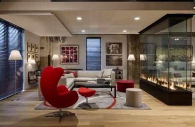 custom 4 sided glass fireplace