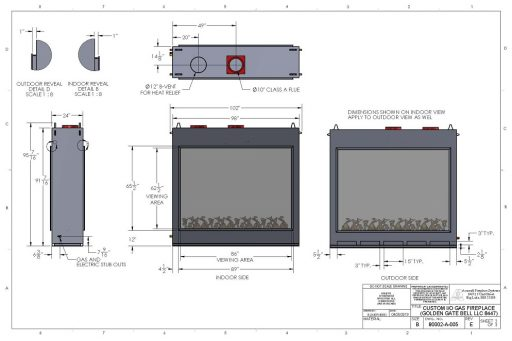 Acucraft Custom IO Gas Fireplace Drawings