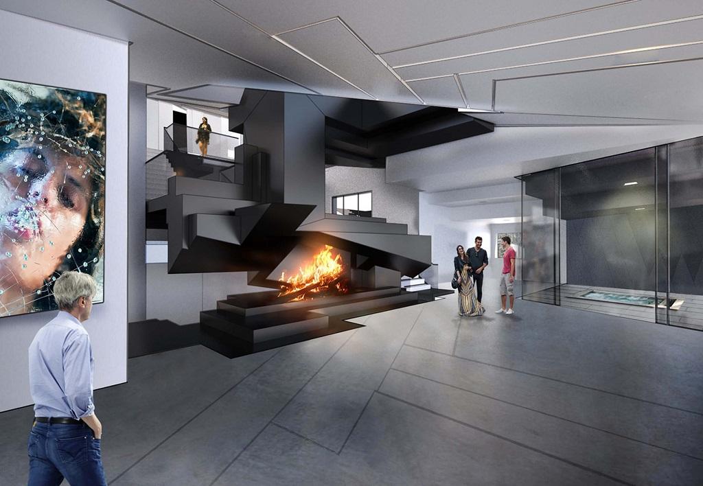 custom open wood burning fireplace