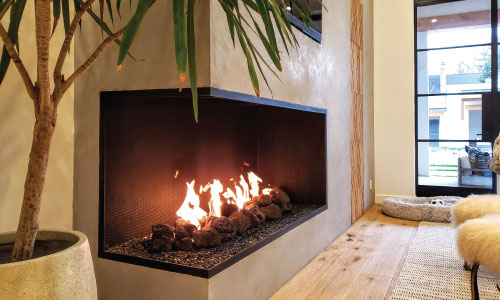 linear fireplace with no glass