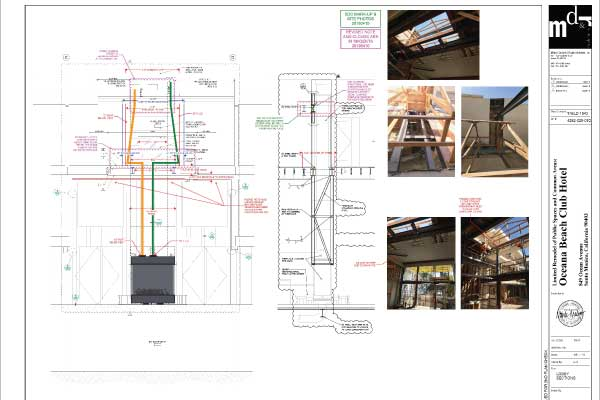 MDR-Architects-Lobby-Section-View-of-Project-Plans-for-Acucraft-4-Sided-Gas-Fireplace-Markup