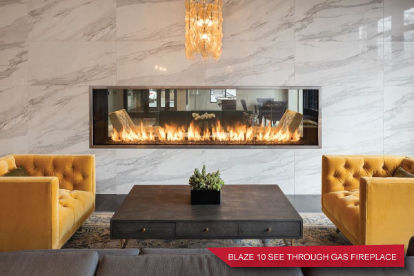 linear see through indoor gas fireplace