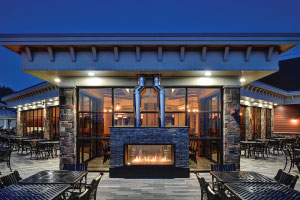 indoor outdoor linear gas fireplace on patio