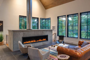 custom single sided linear fireplace in residence