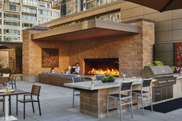 rooftop outdoor gas fireplace with open viewing area