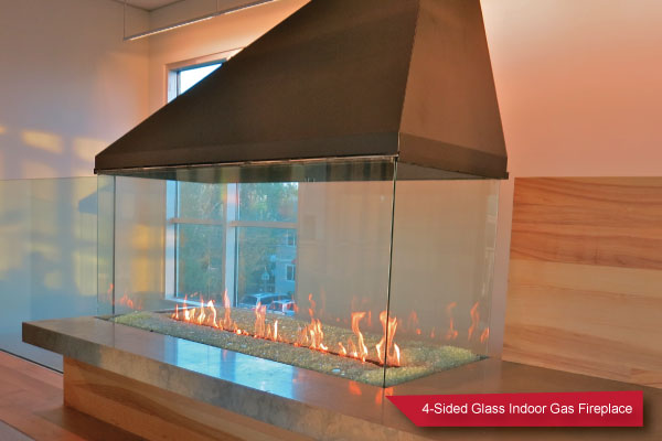 glass indoor fireplace