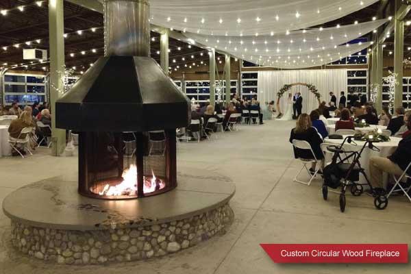 large circular wood fireplace
