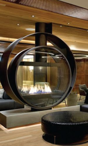 large gas fireplace in kimpton hotel lobby