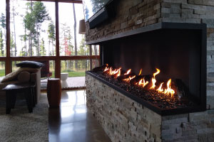 panoramic open indoor gas fireplace