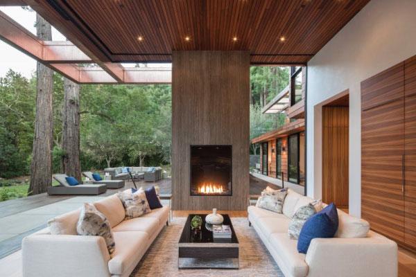 luxury outdoor gas fireplace in modern residence