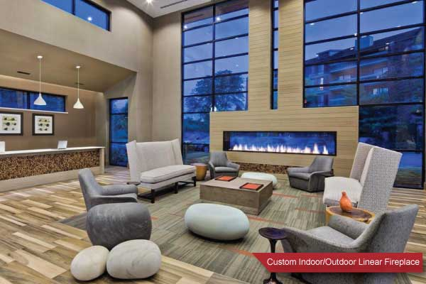 double sided linear fireplace indoor outdoor
