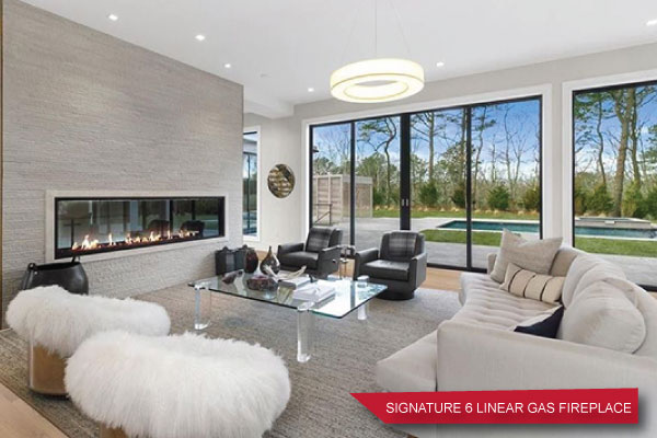 signature linear gas fireplace in living room