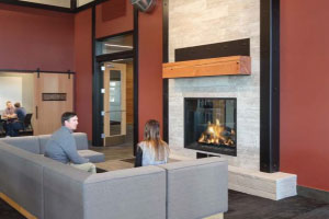 tall linear fireplace with logs