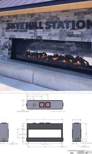 custom see through outdoor gas fireplace starbucks