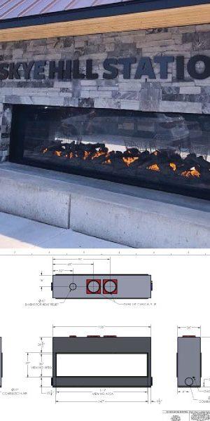 custom see through outdoor gas fireplace starbucks