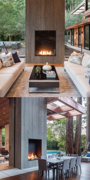 back to back outdoor gas fireplaces in modern home